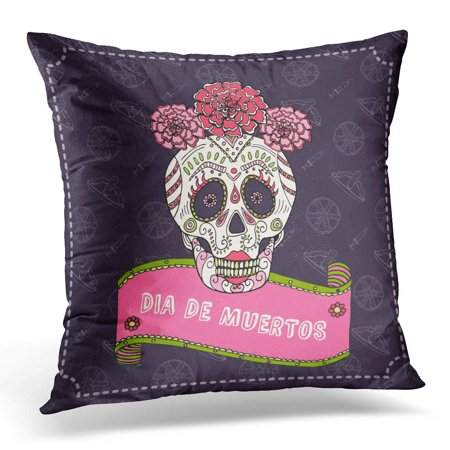 ECCOT White Abstract Sugar Skull Calavera Catrina for Mexican Celebration Cartoon Pillowcase Pillow Cover Cushion Case 20x20 inch - La Catrina Sugar Skull
