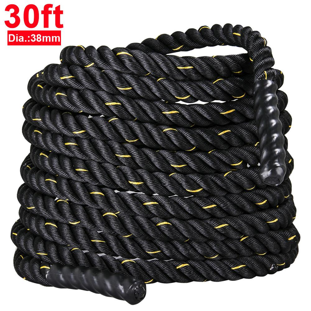 """Yaheetech 1.5"""" Poly Polyester 30ft Battle Rope Exercise Workout Strength Training Undulation"""