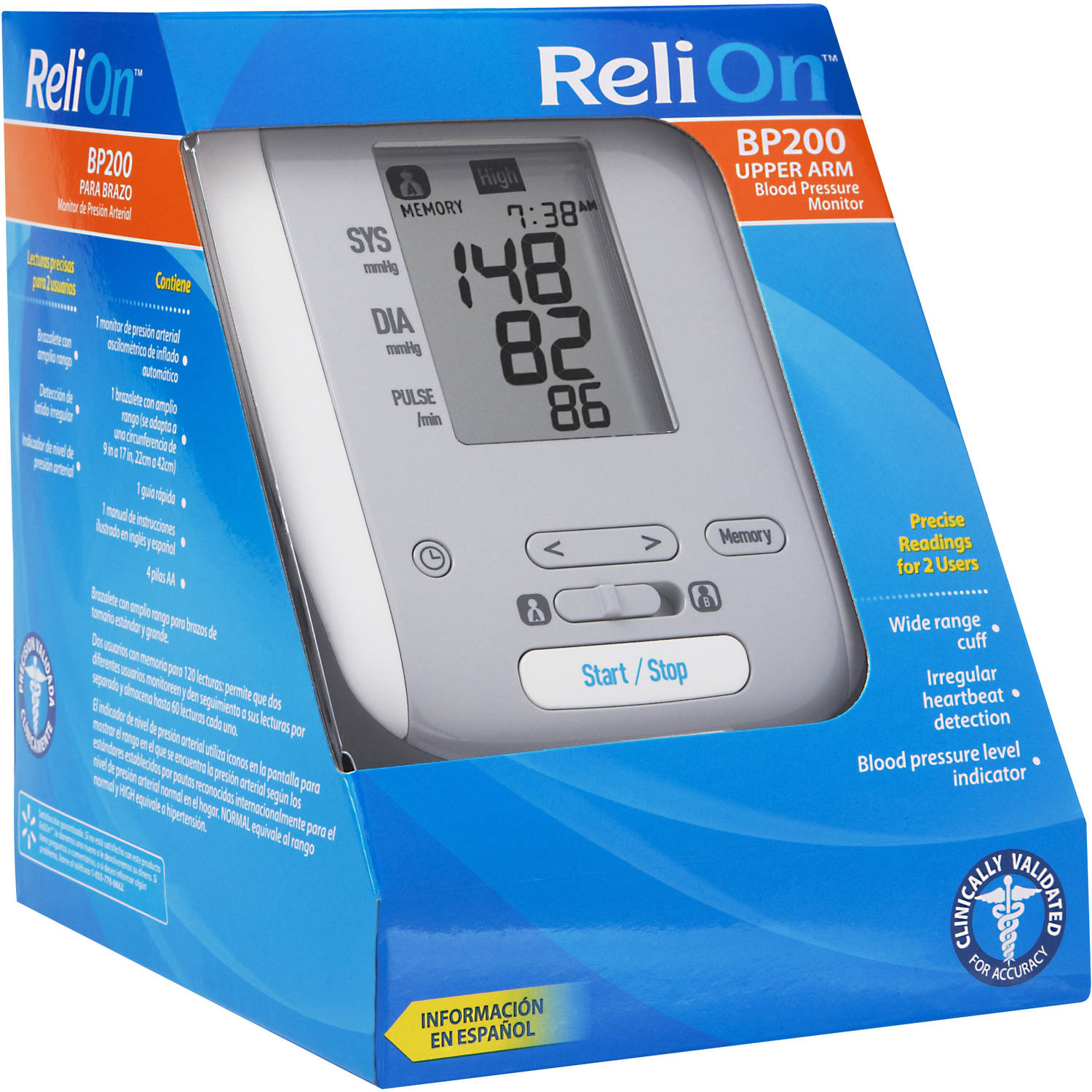 ReliOn BP200 Auto Inflate Deluxe Digital Blood Pressure Monitor