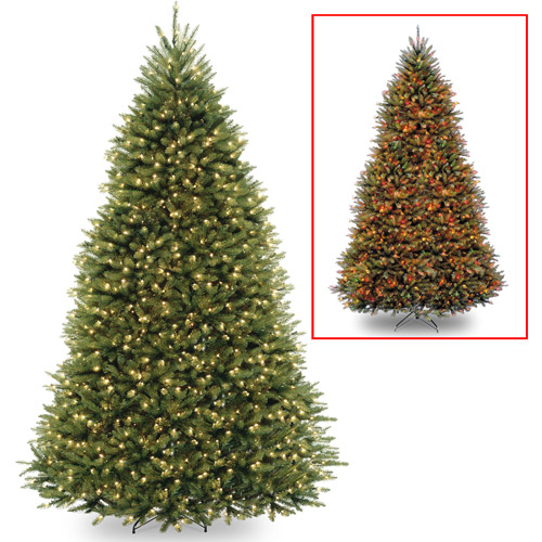 National Tree Pre Lit 10u0027 Dunhill Fir Hinged Artificial Christmas Tree With  1200 Low