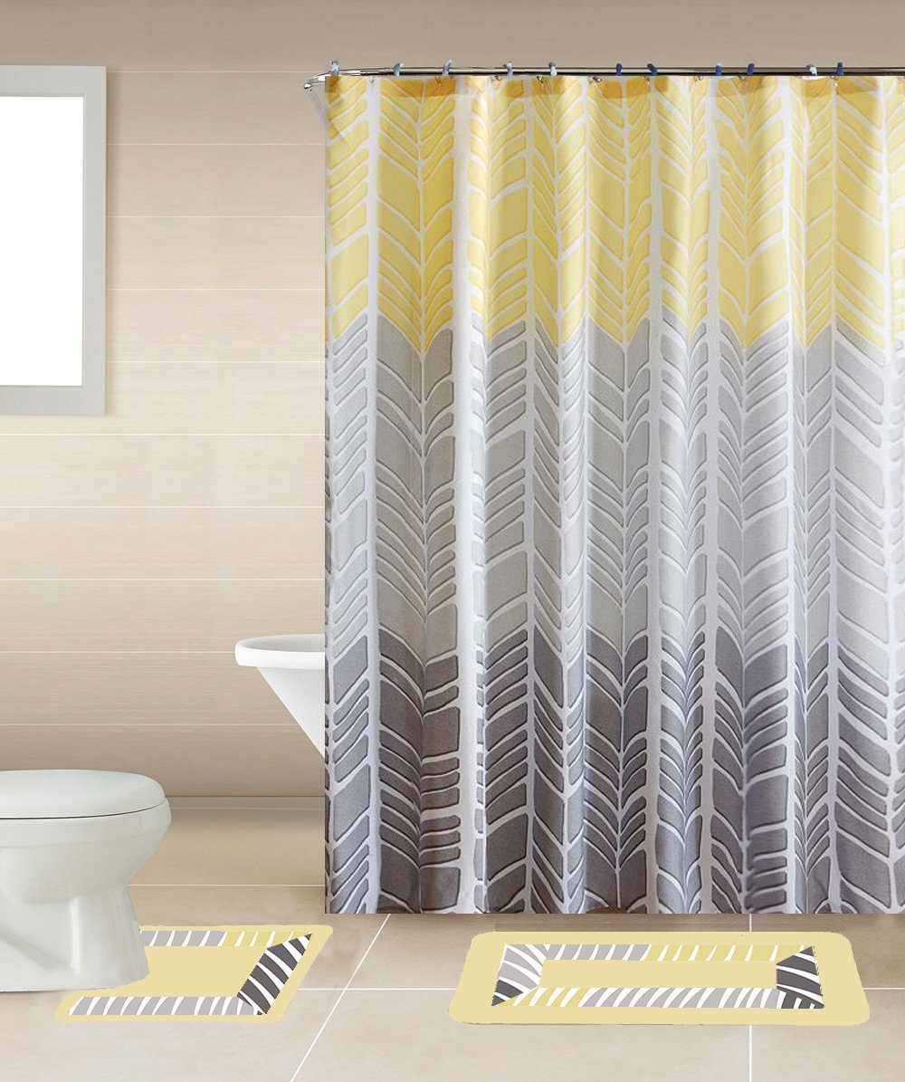 Sonia Yellow & Gray Multi-Tone 15-Piece Bathroom Accessory Set: 2 Bath Mats, Shower... by