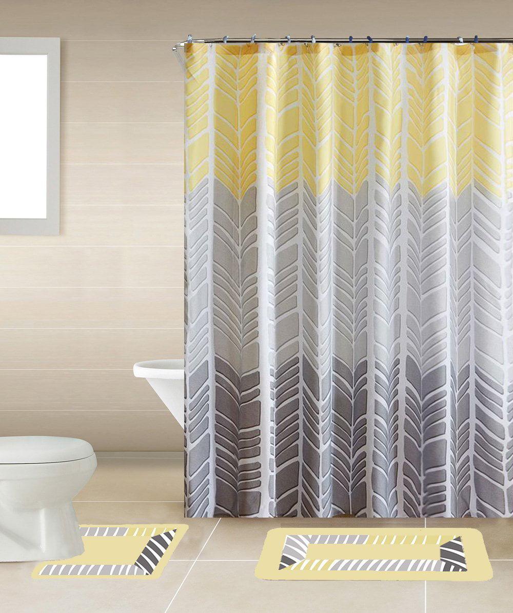 Sonia Yellow & Gray Multi-Tone 15-Piece Bathroom Accessory Set: 2 ...