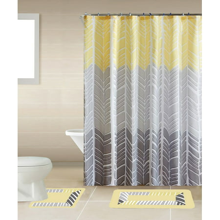 Sonia Yellow & Gray Multi-Tone 15-Piece Bathroom Accessory Set: 2 Bath Mats, Shower Curtain & 12 Fabric Covered Rings