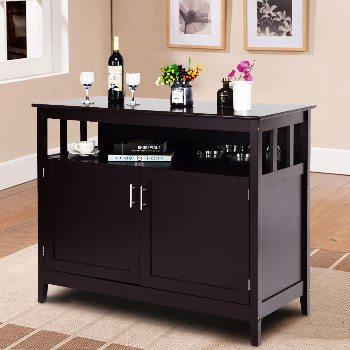 Costway Modern Kitchen Storage Cabinet Buffet Server Table Sideboard Dining Wood Brown by Costway