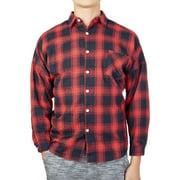 LELINTA Men's Long Sleeve Plaid Shirt Flannel Plaid Shirt Mens Button Down Shirt Workshirt Red Black Blue
