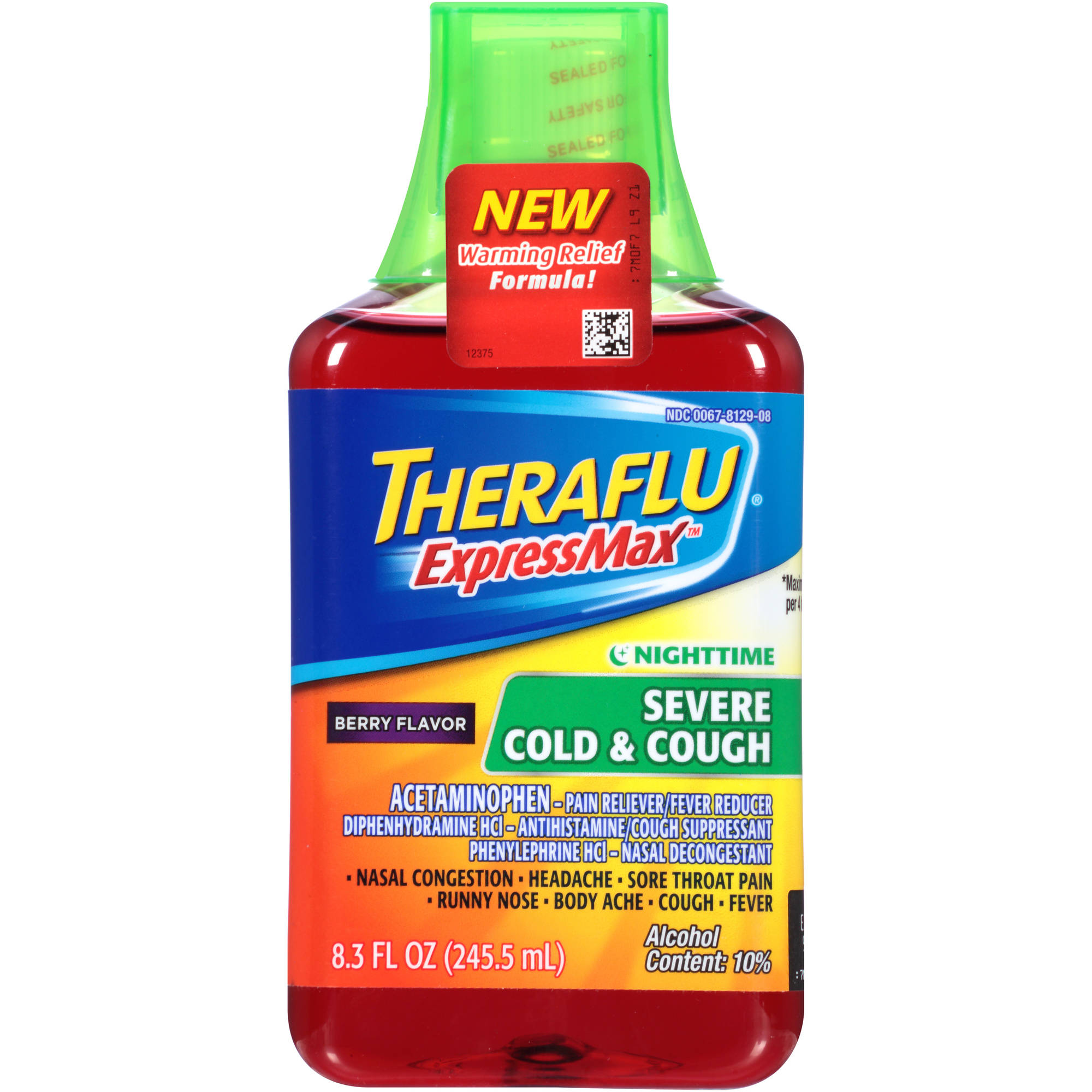 Theraflu Cold & Flu Relief Expressmax Nighttime Severe Cold & Cough, Berry Flavor Syrup, 8.3 fl oz