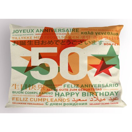 50th Birthday Pillow Sham Happy Birthday in All Languages Retro Style Backdrop with Stars Print, Decorative Standard Size Printed Pillowcase, 26 X 20 Inches, Green Red Orange, by - Retro Happy Birthday