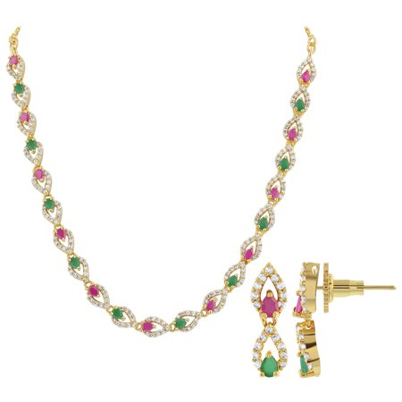 Gem Avenue Gold Plated Bollywood Indian Necklace Earrings Set Red & Green Glass 15 to 17 Inch Adjustable