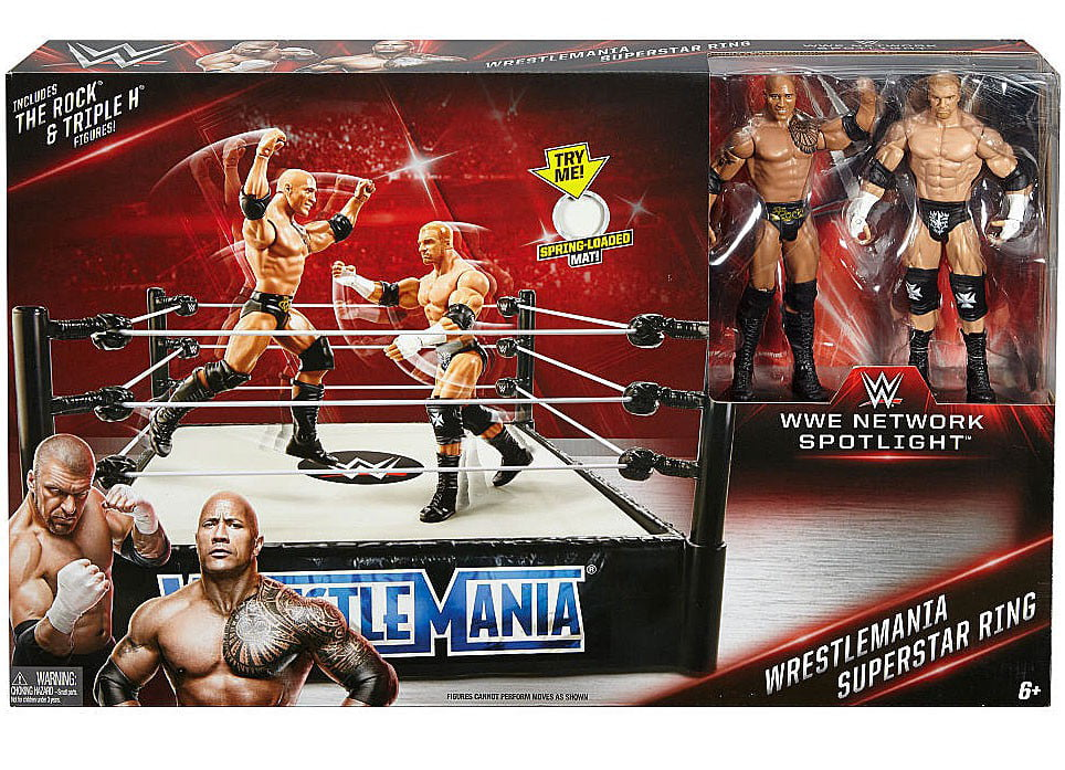 WrestleMania Superstar Ring Includes The Rock & Triple H WWE Wrestling by Mattel Toys