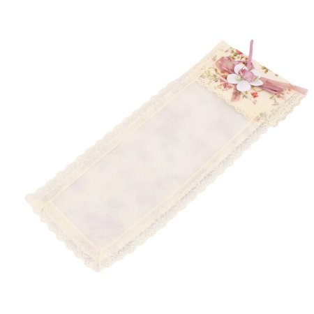Home Cotton Blends Floral Pattern TV Remote Control Cover Pouch Beige White