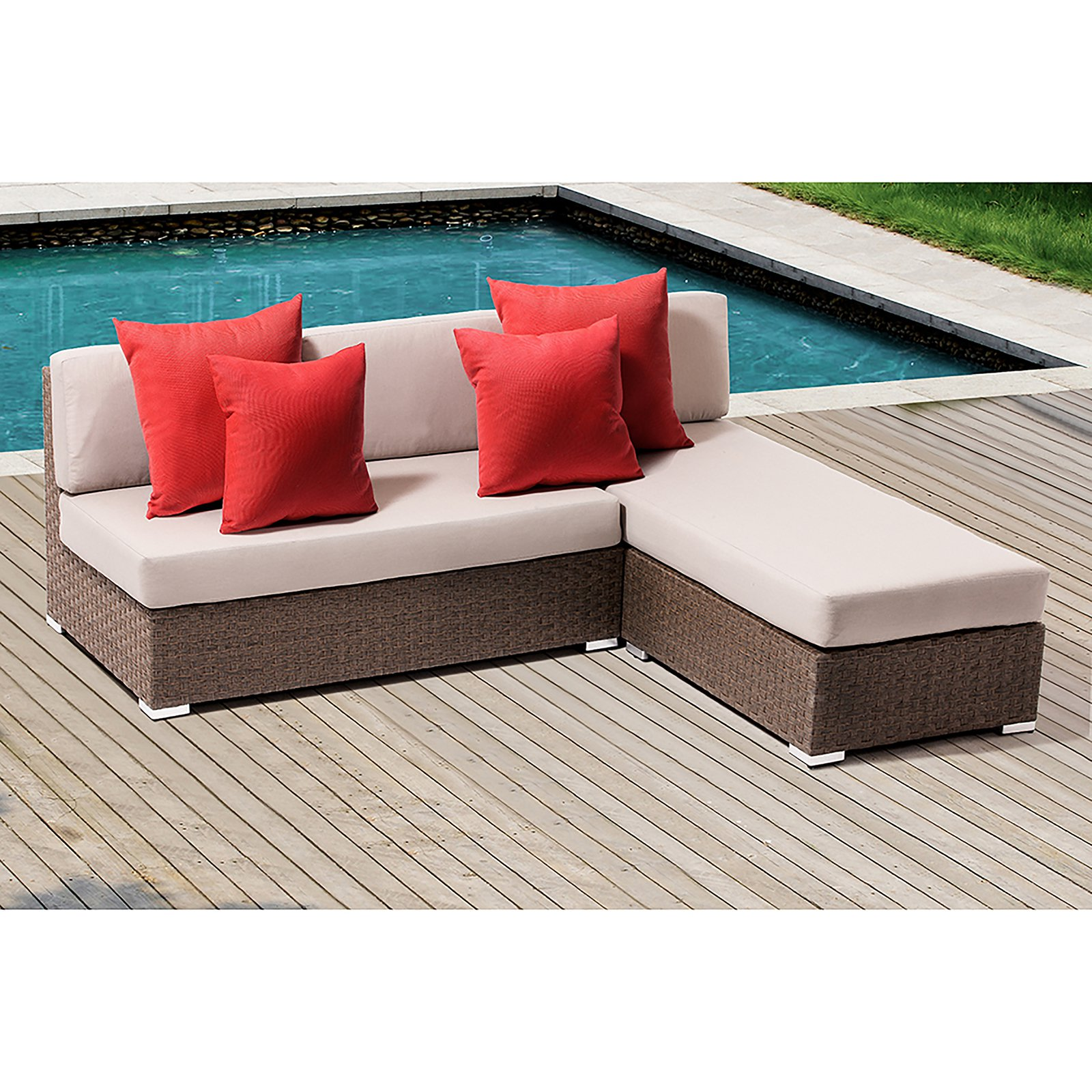 OVE Decors Leads Wicker 2 Piece Patio Conversation Set with Cushions