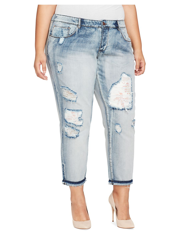 Plus My Ex's Distressed Cotton Jeans