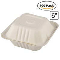 """CaterEco Bagasse Compostable Disposable Clamshell Box (400 Count) 