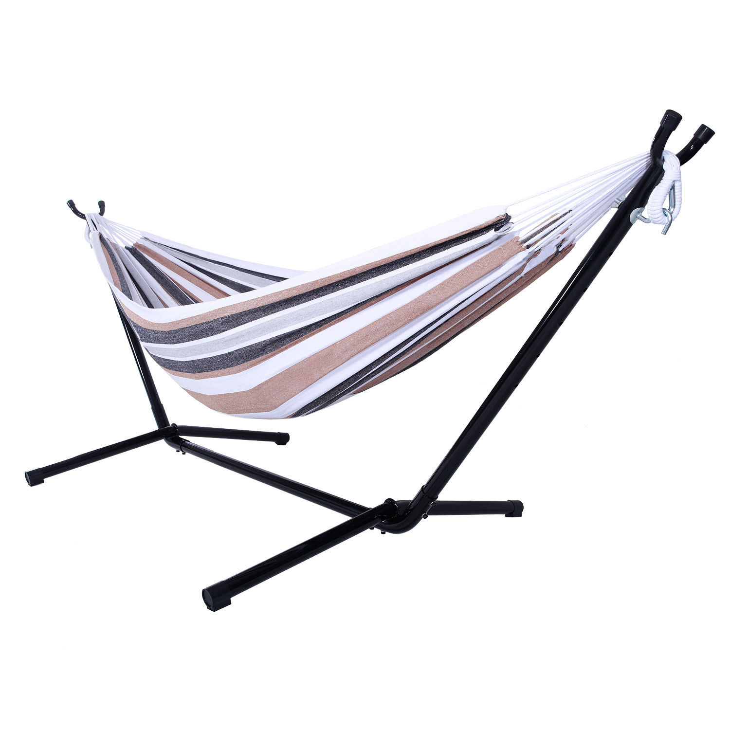 GHP 440-Lbs Capacity Cotton Coffee Stripe Double Swing Hammock Bed with Steel Stand