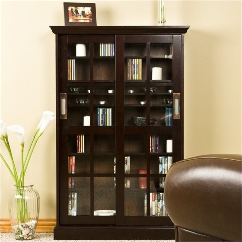 """Bowery Hill 49"""" Sliding Door Media Cabinet in Espresso by Bowery Hill"""