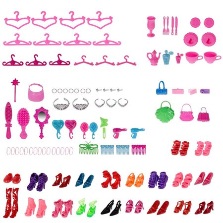 100pcs different barbie accessories shoes glasses necklace tableware mirror for barbie doll xmas gift birthday gift