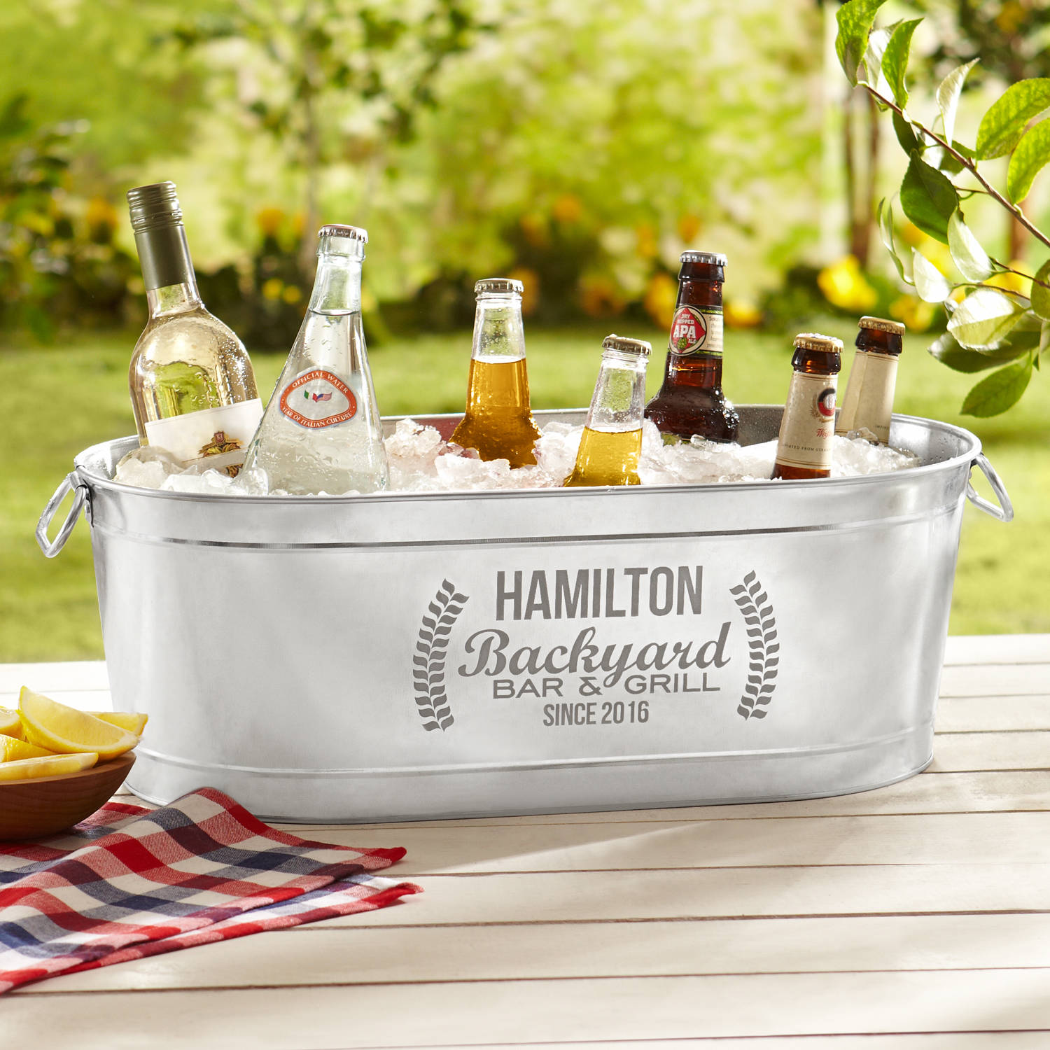 Personalized Backyard Bar Beverage Tub