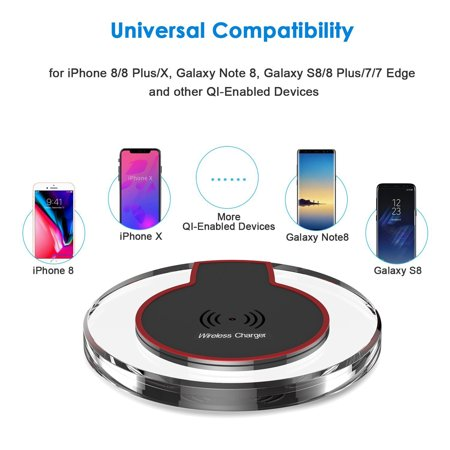 Qi Wireless Charger, FREEDOMTECH Qi Fast Charging Stand for iPhone 8 / 8plus, iPhone X, Samsung Galaxy S7 / S6 / Edge / S9 Plus, Note 5 8, Nexus and all Qi-Enabled