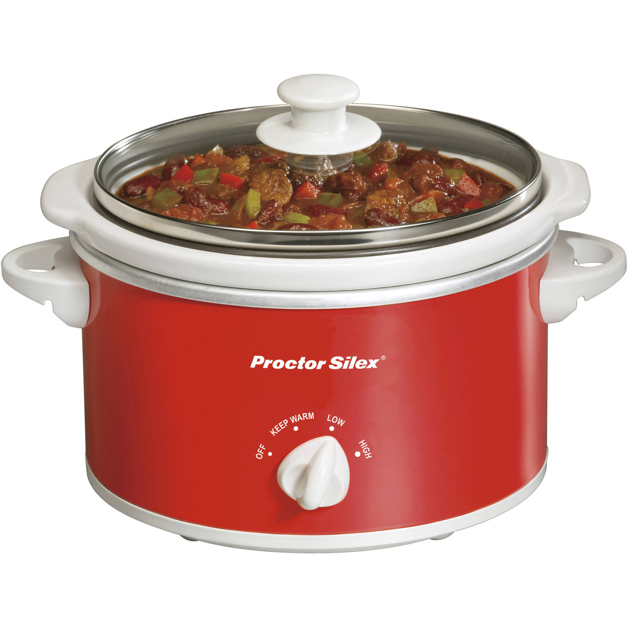 Proctor Silex 1.5-Quart Portable Oval Slow Cooker, Red