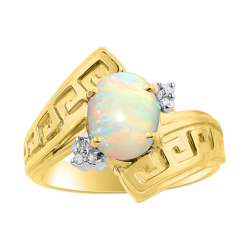 Diamond & Opal Ring Set In 14K Yellow Gold Greek Key Design Color Stone Birthstone Ring by