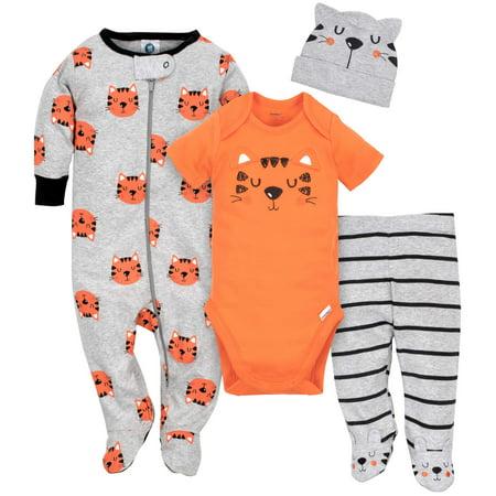 Gerber Newborn Baby Boy Bodysuit  Sleep N Play  Pants   Cap  4Pc Set