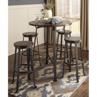 Ashley Challiman 5 Piece Bar Height Round Dining Set in Rustic Brown