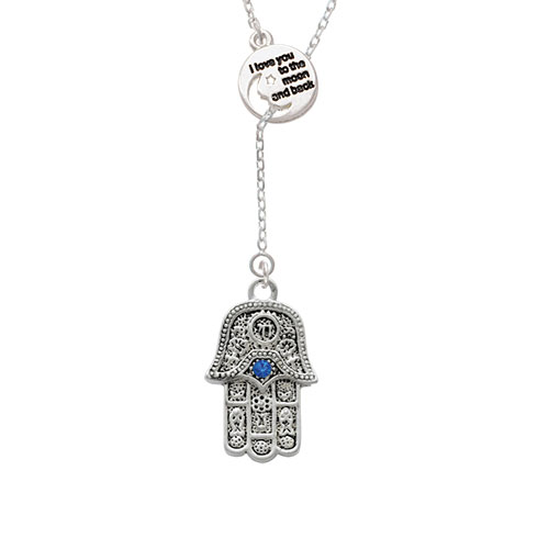 Hamsa Hand with Blue Crystal I Love You to the Moon Lariat Necklace