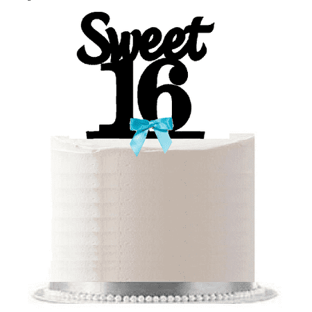 Sweet 16 (16th Birthday) Turquoise Bow Elegant Cake Decoration Cake Topper - 16th Birthday Cake Ideas