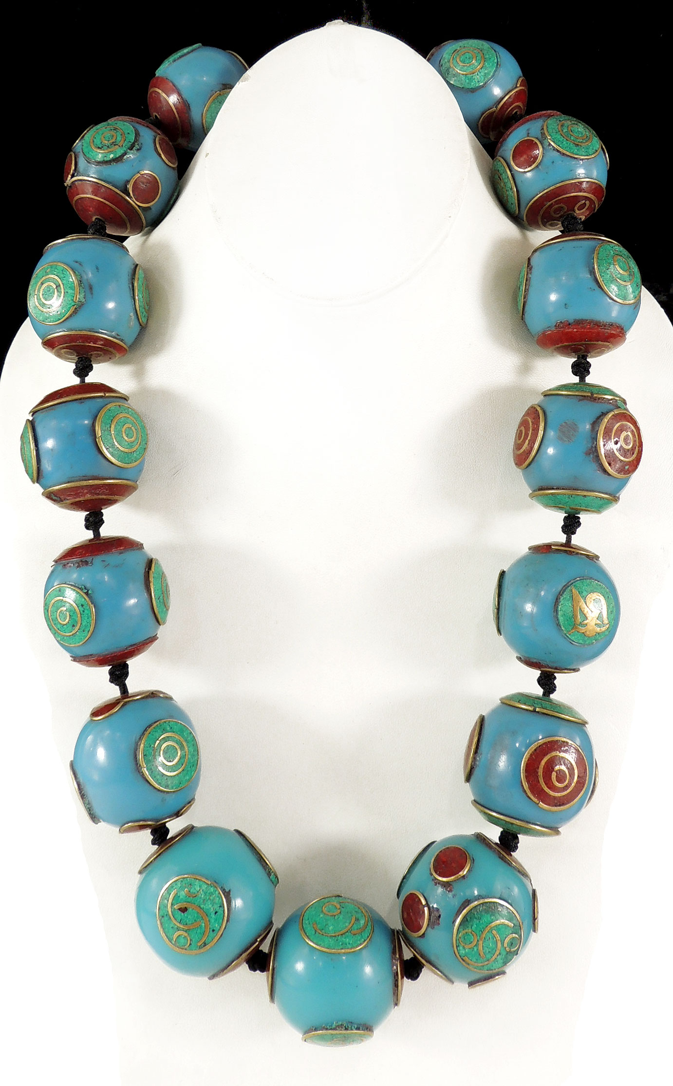 Tibetan Necklace Inlaid Turquoise Coral Amber Color Beads Huge by