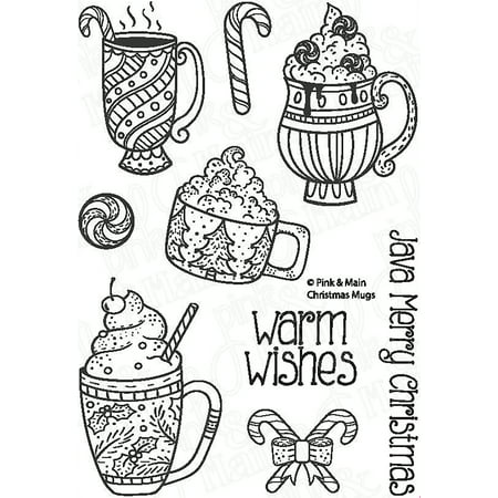 pink main clear stamps 4x6 christmas mugs