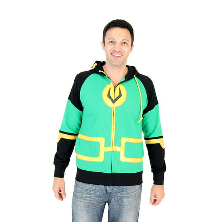 Marvel Kid Loki Symbol Adult Zip Up Costume Hoodie - Loki Costume For Sale