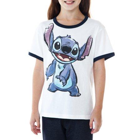Disney Stitch Ringer Short Sleeve T-Shirt White (Big (Girls Ringer T-shirt)
