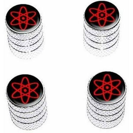 - Atomic Symbol Black Red Tire Rim Wheel Aluminum Valve Stem Caps, Multiple Colors