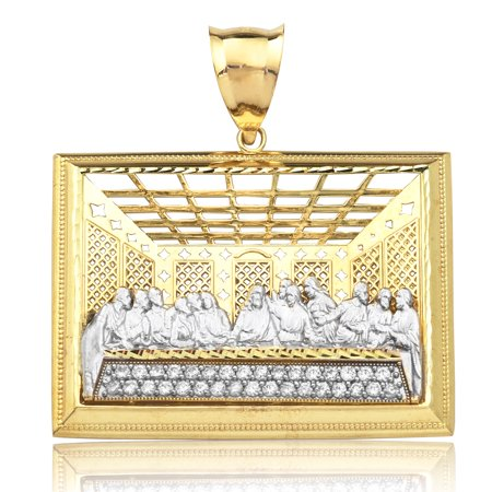 LOVEBLING 10K Yellow Gold Two Tone The Last Supper Charm Pendant (1.76