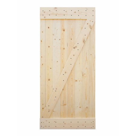 TMS 38IN x 84IN Solid Core Unfinished Plank Knotty Pine Barn Wood Sliding Interior Door