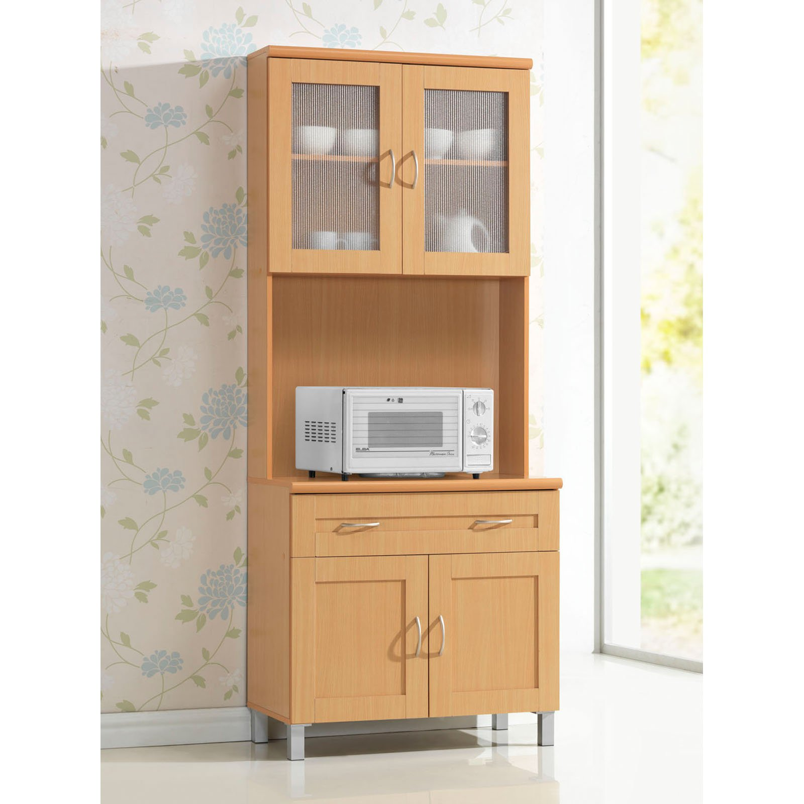 Kitchen Shelves Walmart: Hodedah HIK92 Kitchen Cabinet