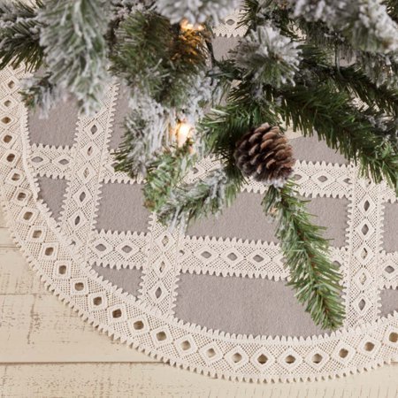 Farmhouse Grey Farmhouse Christmas Decor Margot Felt Lace Chambray 21