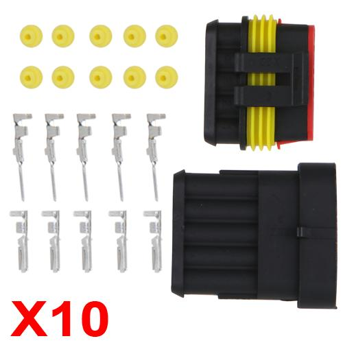 10x Sets 5-Pin Way Waterproof Electrical Wire Connector Plug Kit Insert Car Boat