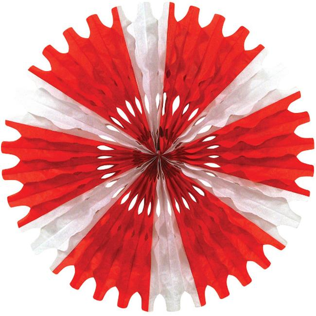 Bulk Buys Red and White Tissue Fan Decoration -  Case of 24
