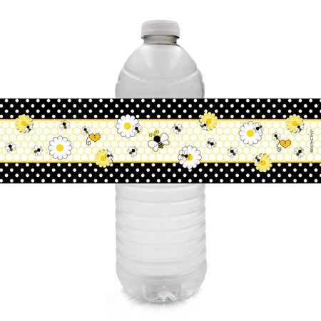 Bee Baby Shower Water Bottle Labels, 24ct - Bumble Bee Baby Shower Decorations What Will It Bee Party Supplies - 24 Count Sticker Labels