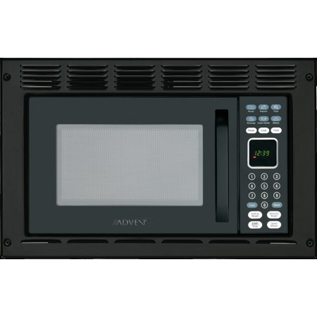 Advent MW912BWDK Black Built-in Microwave Oven with Wide Trim Kit, Specially Built for RV, Recreational Vehicle, Trailer, Camper, Boat, Yacht, Motor Home, 0.9 cu.ft. Capacity, 900 Watts Cooking (24 Built In Microwave Oven With Trim Kit)