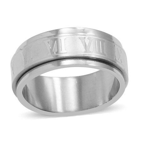 Hypoallergenic Steel Roman Numeral Spinner Eternity Ring Jewelry Gift Size 6