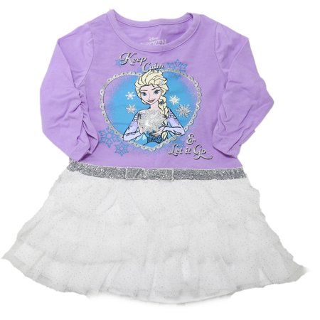 Frozen Disney Girls Size 5 Long Sleeve Tutu Top, Purple/White/Silver