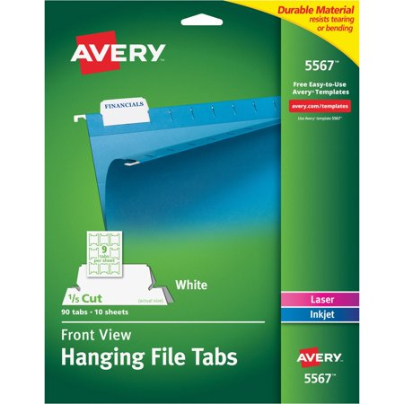 Avery Print/Write-On Hanging Tabs, 1/5 Tab, 2 1/16, White, 90/Pack (Max 90 Tabs)