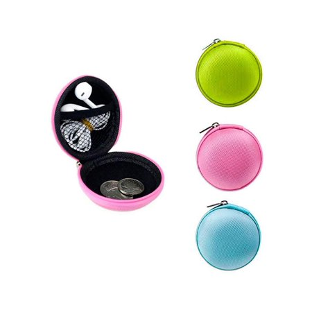 Mini Change Purse (1 Pc Round Zipper Pouch Key Ring Chain Case Mini Purse Coin Change Wallet)