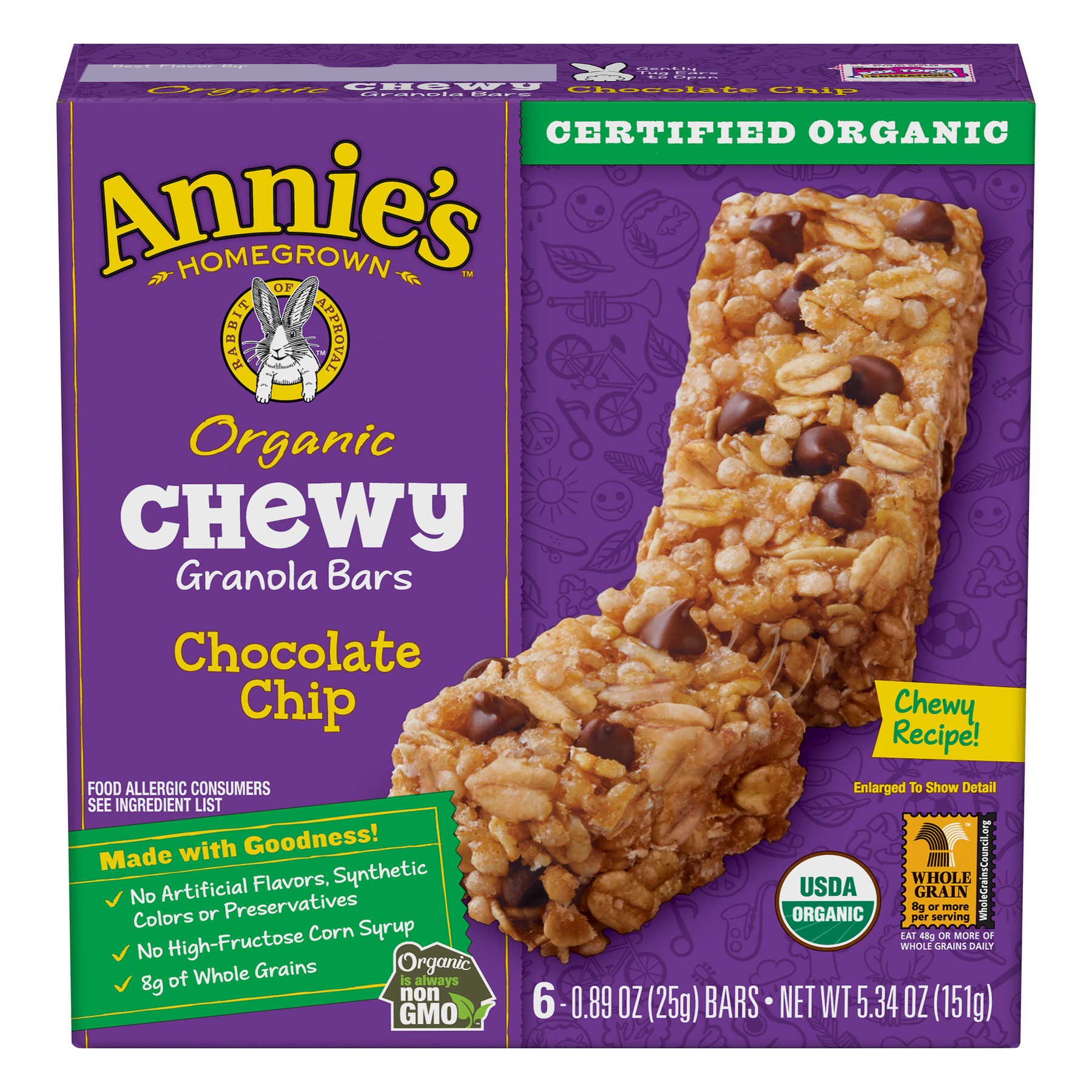 Annie's Organic Chewy Chocolate Chip Granola Bars 6 Ct, 5.34 oz