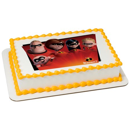 Incredibles 2 Favorite Super Hero Family 1/4 Sheet Image Cake Topper Edible Birthday Party - The Band Cake