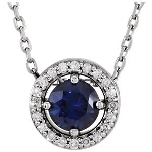 Jewels By Lux Platinum Chatham Created Blue Sapphire and .05 CTW Diamond Necklace