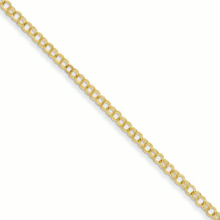 14K Yellow Gold 3.5 MM Solid Double Charm Bracelet, 8