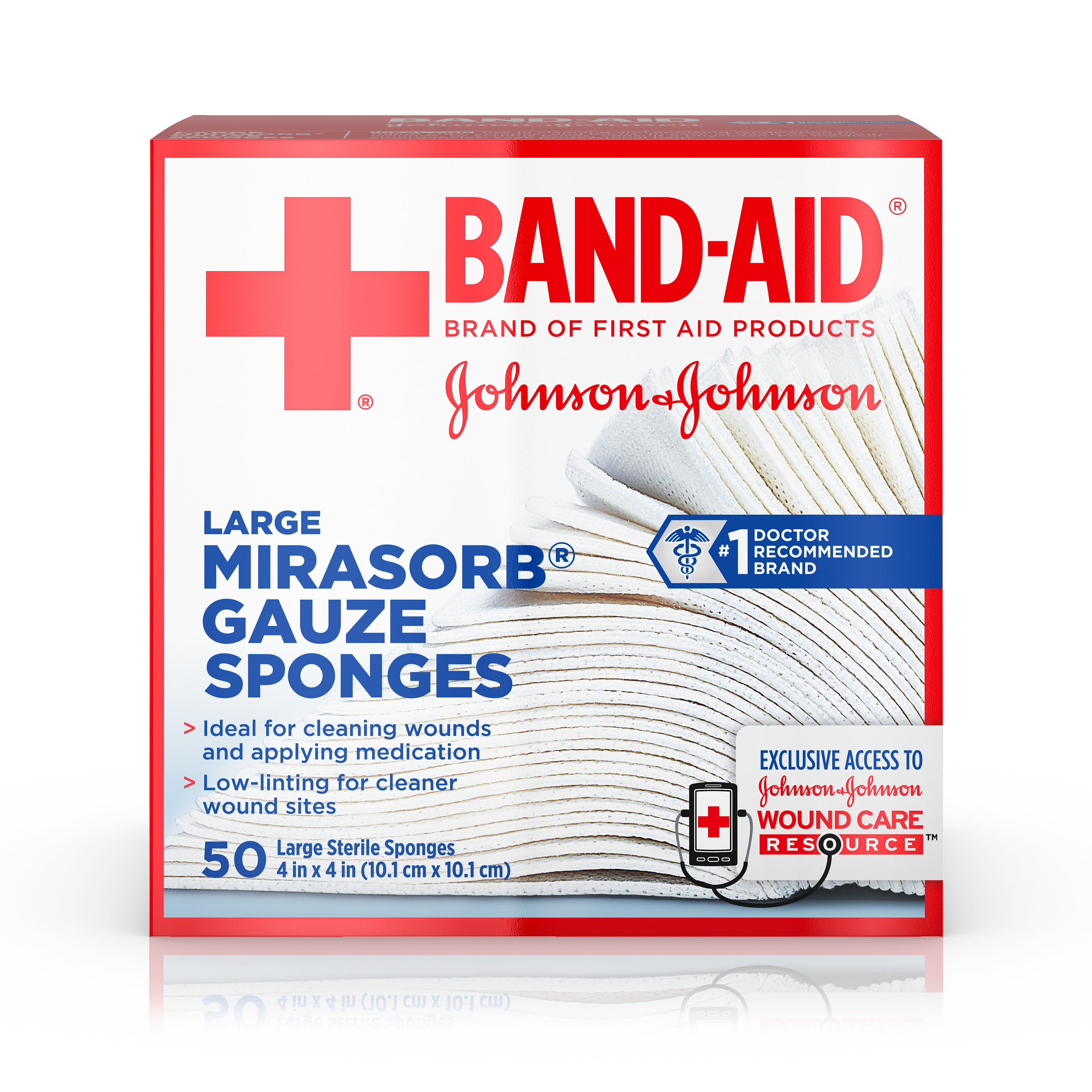 BAND-AID® Brand of First Aid Products MIRASORB® Gauze Sponges for Cleaning Wounds, 4 Inches by 4 Inches, 50 Count